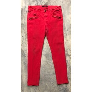 Rock and Republic Red Skinny Jeans with Zippers